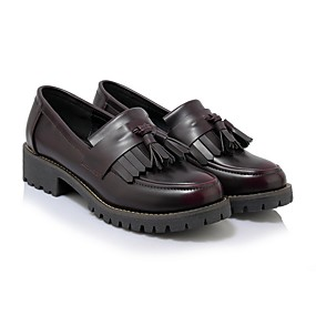voordelige Damesinstappers & loafers-Dames Loafers & Slip-Ons Platte hak Ronde Teen Synthetisch Herfst Zwart / Bordeaux