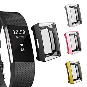 cheap Smartwatch Case-Soft Plating TPU Protective Clear Watch Case For Fitbit Charge 2 Case Cover Shell Screen Protector