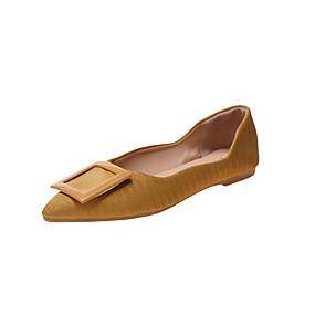 voordelige Damesschoenen met platte hak-Dames Platte schoenen Platte hak Gepuntte Teen PU Informeel Herfst Geel / Groen / Beige
