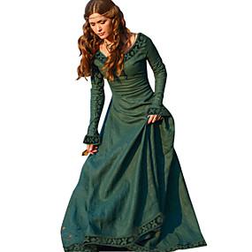 preiswerte Renovierung-Retro Vintage Mittelalterlich Kleid Damen Kostüm Grün / Rot / Blau Vintage Cosplay Tee Party Festival Langarm Normallänge A-Linie