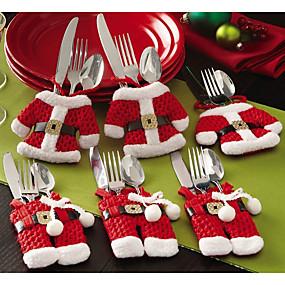 preiswerte Weihnachtsdeko-6 stücke weihnachten besteck tisch tasche besteck taschenmesser geschirr tasche weihnachtsmann abendtisch dekoration