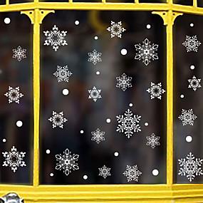 preiswerte Dekoration für Zuhause-Weihnachtsschneeflockefensterfilm&Ampere; aufkleber dekoration cartoon / weihnachten geometrische / blume / blumen / urlaub pvc (polyvinylchlorid) fenster aufkleber / tür aufkleber / bezaubernd