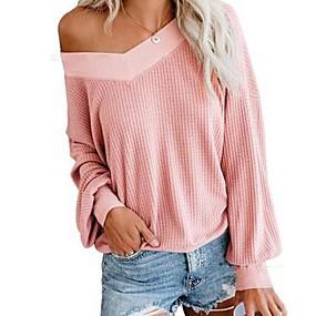 preiswerte Damen Oberteile-Damen Solide Langarm Pullover Pullover Jumper, V-Ausschnitt Schwarz / Weiß / Staubige Rose S / M / L