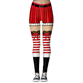 preiswerte Hosen & Röcke für Damen-Damen Weihnachten Schlank Leggins / Jogginghose Hose - 3D-Druck Druck Rote Grün S M L