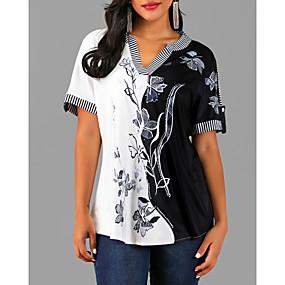 preiswerte Damenbekleidung-Damen Blumen - Street Schick Bluse, V-Ausschnitt Schwarz