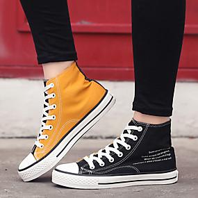 voordelige Damessneakers-Dames Sneakers Platte hak Ronde Teen Netstof / Tissage Volant Informeel / minimalisme Hardlopen / Wandelen Herfst winter Zwart / Geel / Rood / Kleurenblok