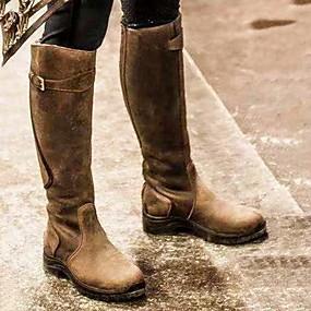 preiswerte Damenschuhe-Damen Stiefel Komfort Schuhe Flacher Absatz Runde Zehe PU Mittelhohe Stiefel Herbst Winter Schwarz / Braun / Gelb