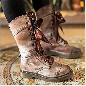 preiswerte Damenschuhe-Damen Stiefel Komfort Schuhe Flacher Absatz Runde Zehe PU Mittelhohe Stiefel Winter Schwarz / Rot / Grau