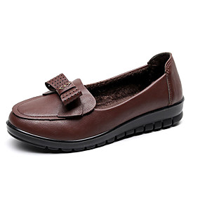 voordelige Damesinstappers & loafers-Dames Loafers & Slip-Ons Platte hak Ronde Teen Leer / PU Informeel Herfst Zwart / Bruin