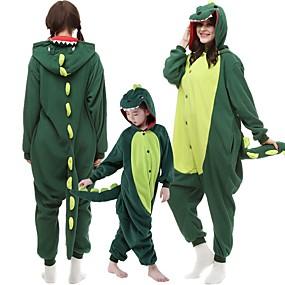 preiswerte Leisure-Kinder Erwachsene Kigurumi-Pyjamas Dinosaurier Monster Pyjamas-Einteiler Flanell Dunkelgrün / Rot Cosplay Für Herren und Damen Tiernachtwäsche Karikatur Fest / Feiertage Kostüme