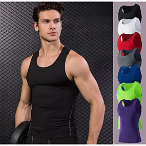 cheap Yoga & Fitness-YUERLIAN Men's Sleeveless Running Shirt Compression Tank Top Base Layer Top Athletic Winter Elastane Anatomic Design Quick Dry Stretchy Gym Workout Exercise & Fitness Racing Basketball Running