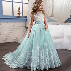 cheap Fashion Trends-Kids Girls' Active Sweet Party Holiday Patchwork Princess Bow Flower Sleeveless Maxi Dress White