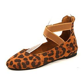 voordelige Damesschoenen met platte hak-Dames Platte schoenen Platte hak Ronde Teen PU Zomer Zwart / Bruin / Luipaard
