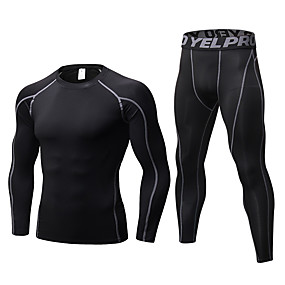 cheap Men's Activewear-YUERLIAN Men's 2 Piece Activewear Set Workout Outfits Compression Suit Athletic Long Sleeve Anatomic Design Breathability Quick Dry Fitness Gym Workout Basketball Running Jogging Sportswear Solid