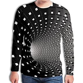 preiswerte Herrenmode-Herrn Geometrisch / 3D - Street Schick / Übertrieben Übergrössen T-shirt, Rundhalsausschnitt Gefaltet / Druck Schwarz / Langarm