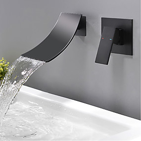 cheap New Arrivals-Bathroom Sink Faucet - Waterfall Black Wall Mounted Single Handle Two HolesBath Taps