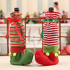 cheap Christmas Decorations-Christmas Elf Dot Stripes Dress Pattern Red Wine Bottle Dining Table Cover Party Decoration