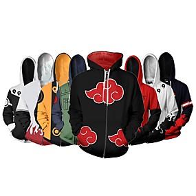 cheap Athleisure Wear-Inspired by Naruto Akatsuki Cosplay Hoodie Terylene Cartoon Hoodie For Women's / Men's
