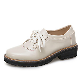 voordelige Dames Oxfords-Dames Oxfords Blokhak Ronde Teen PU Herfst winter Zwart / Bruin / Beige