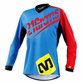 cheap Cycling & Motorcycling-21Grams Men's Long Sleeve Cycling Jersey Dirt Bike Jersey Winter Red+Blue Black / Green Bike Jersey Pants Top Mountain Bike MTB Road Bike Cycling UV Resistant Breathable Quick Dry Sports Clothing