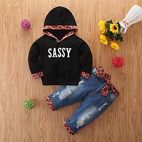 preiswerte Baby & Kinder-Baby Mädchen Grundlegend Normal Druck Druck Langarm Standard Standard Kleidungs Set Schwarz