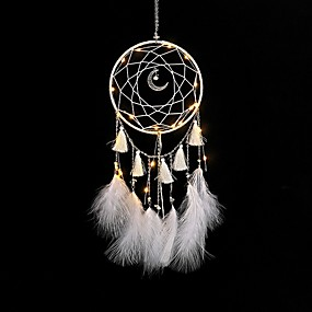 cheap Top Picks For Your Home-1 pcs Bohemia Feather Dreamcatcher With LED Lights For Wall Hanging Decoration