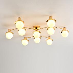 povoljno Lámpatestek-JSGYlights 10-Light Flush Svjetla Ambient Light Electroplated Metal Glass New Design 110-120V / 220-240V Meleg fehér / Bijela