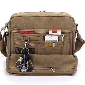 cheap Shoes & Bags-Men's Zipper Canvas Crossbody Bag Solid Color Khaki