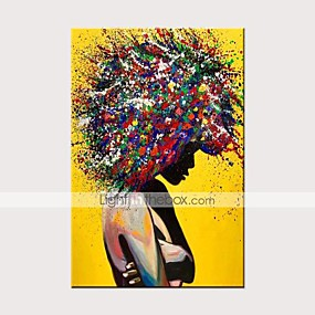cheap Wall Art New Arrivals-Oil Painting Hand Painted - Abstract People Modern Rolled Canvas