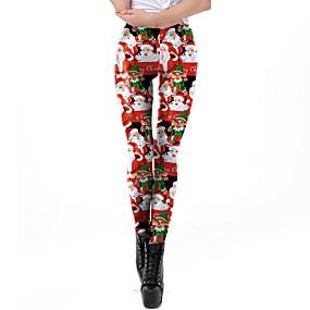 preiswerte Hosen & Röcke für Damen-Damen Weihnachten Bedruckt Legging - Druck, Druck Mittlere Taillenlinie Rote S M L / Schlank