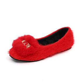 voordelige Damesschoenen met platte hak-Dames Platte schoenen Platte hak Ronde Teen Imitatiebont Herfst winter Zwart / Rood / Khaki