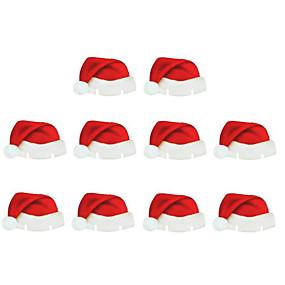 preiswerte Dekorationen-Tischkartenweihnachtsmannmütze-Weinglas der Weihnachtsdekorations 10pcs Tischkartenweihnachtsmannmütze-Weinglas