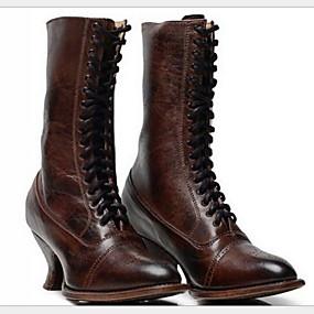 preiswerte Damenschuhe-Damen Stiefel Komfort Schuhe Stöckelabsatz Runde Zehe PU Mittelhohe Stiefel Winter Schwarz / Braun