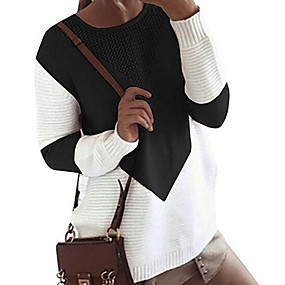 cheap Women's Sweaters-Women's Color Block Long Sleeve Loose Pullover Sweater Jumper, Round Black / Gray / Khaki S / M / L