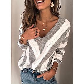cheap Winter Clothing-Women's Striped Long Sleeve Pullover Sweater Jumper, V Neck Wine / Purple / Blue S / M / L