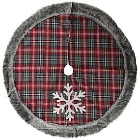 저렴한 생일-크리스마스 트리 스커트 레드 격자 무늬 크리스마스 장식 따뜻한 봉제 모피 가장자리 눈송이 깔개 2020 나비 다드 고품질 빈티지