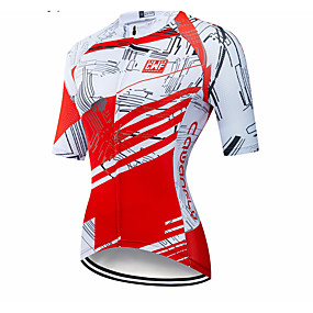 cheap Women-CAWANFLY Women's Short Sleeve Cycling Jersey Summer Red and White Geometic Novelty Bike Jersey Top Mountain Bike MTB Road Bike Cycling Quick Dry Breathable Back Pocket Sports Clothing Apparel