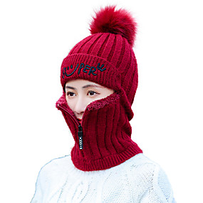 cheap Women's Accessories-Women's Work Basic Acrylic Polyester Knitwear Floppy Hat Ski Hat-Solid Colored Fall Winter Black Wine Blushing Pink