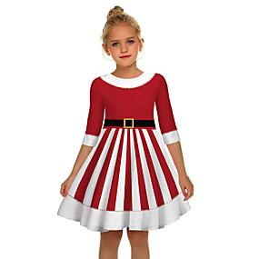 preiswerte Baby & Kinder-Kinder Mädchen Aktiv Süß Weihnachtsmann Weihnachten Halbe Ärmel Übers Knie Kleid Rote