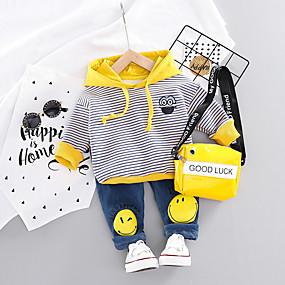 preiswerte Baby & Kinder-Baby Jungen Aktiv / Grundlegend Geometrisch / Druck Druck Langarm Standard Standard Kleidungs Set Orange