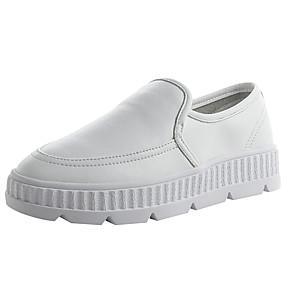 voordelige Damessneakers-Dames Sneakers Creepers Ronde Teen Leer Lente & Herfst Zwart / Wit