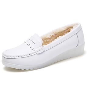 voordelige Damesinstappers & loafers-Dames Loafers & Slip-Ons Platte hak Ronde Teen Leer minimalisme Winter Wit