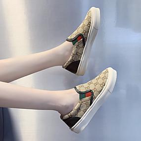 voordelige Damessneakers-Dames Sneakers Platte hak Ronde Teen Canvas Informeel / minimalisme Lente & Herfst / Lente zomer Groen / Roze