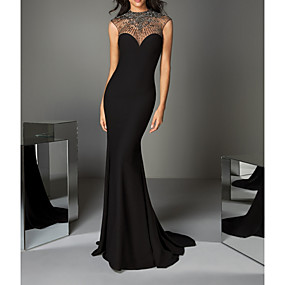 cheap Daily Deals-Mermaid / Trumpet Luxurious Black Engagement Formal Evening Dress Illusion Neck Sleeveless Sweep / Brush Train Charmeuse with Crystals Beading 2020