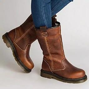 billige Mote Boots-Dame Støvler Komfort Sko Flat hæl Rund Tå PU Støvletter Høst vinter Brun