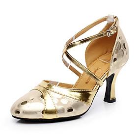 ราคาถูก Dance Shoes-สำหรับผู้หญิง รองเท้าเต้นรำ หนังสัตว์ / หนัง โมเดอร์น ส้น ส้นCuban ตัดเฉพาะได้ สีทอง / เงิน