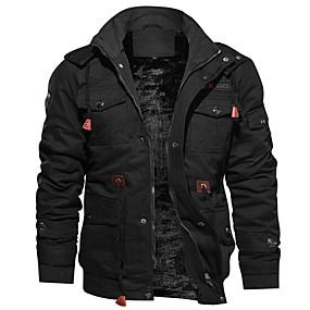preiswerte Herrenmode-Herrn Alltag Standard Jacke, Solide Mit Kapuze Langarm Polyester Schwarz / Armeegrün / Khaki