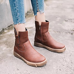 cheap Fashion Boots-Women's Boots Comfort Shoes Flat Heel Round Toe Faux Leather Mid-Calf Boots Fall & Winter Black / Dark Brown