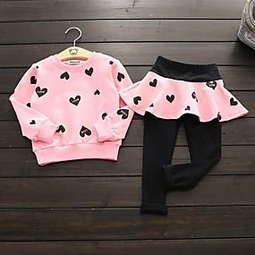 preiswerte Baby & Kinder-Kinder Mädchen Aktiv Druck Langarm Baumwolle Kleidungs Set Rosa