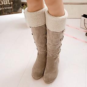 billige Mote Boots-Dame Støvler Snøstøvler Kile Hæl Rund Tå Semsket lær Støvletter Høst vinter Svart / Gul / Beige